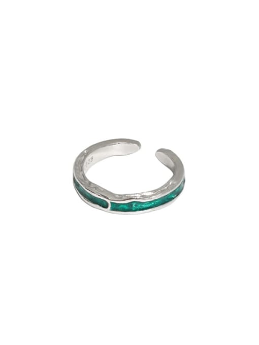Platinum [green] 925 Sterling Silver Enamel Irregular Vintage Band Ring